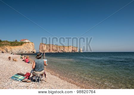Beach Scene At Perce Rock