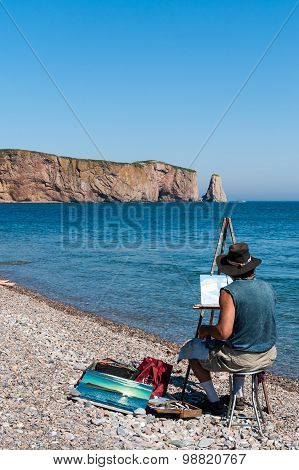 Landscape Painter At Perce