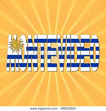 Montevideo flag text with sunburst illustration