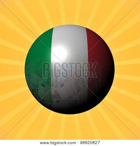 Italy flag euros sphere on sunburst illustration