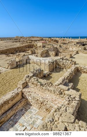 Paphos archeological park landscape in sunny day, Cyprus.