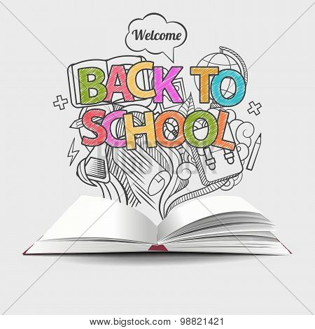 Welcome back to school idea colored doodles icons and open book. Vector illustration. Can be used fo