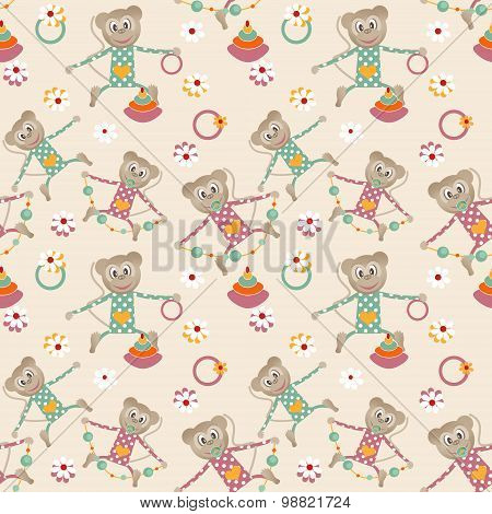 Illustration Of Seamless Pattern With Colorful Toys Monkey Background