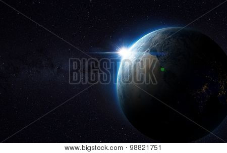 Earth view from space with sunrise. (Elements of this image furnished by NASA)