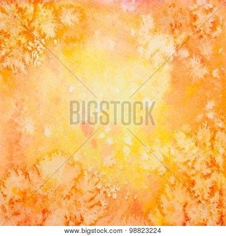 Vector Hand Drawn Orange Watercolor Background