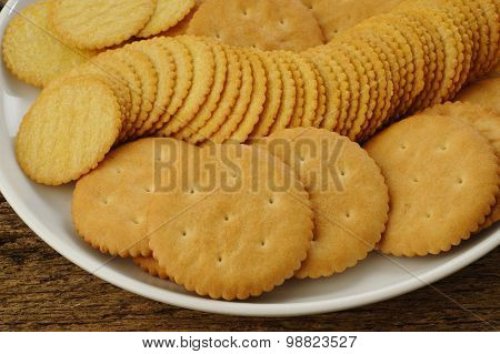 Salty Crackers On Plate