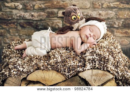 Cute sleeping newborn baby