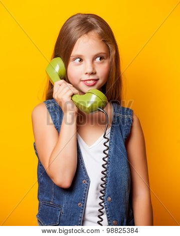 Young Surprised Girl With Green Handset