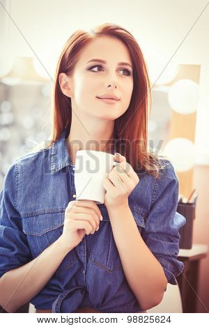 Women With White Cup Of Coffee