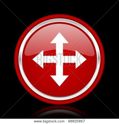 arrow red glossy web icon chrome design on black background with reflection
