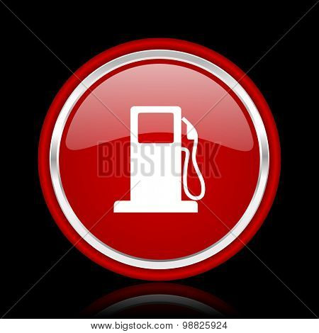 petrol red glossy web icon chrome design on black background with reflection
