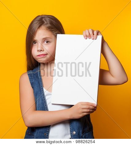 Beautiful Young Girl With White Board