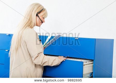 Receptionist With Medical Records