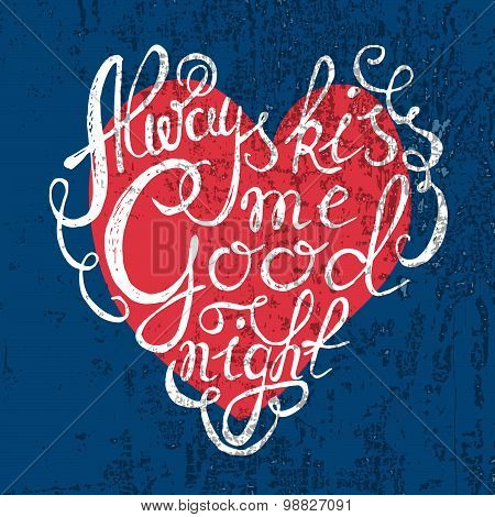 Heart With Hand Drawn Typography Poster