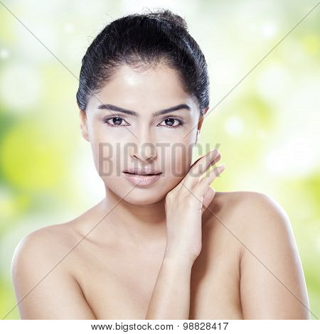 Woman With Black Hair And Clean Skin