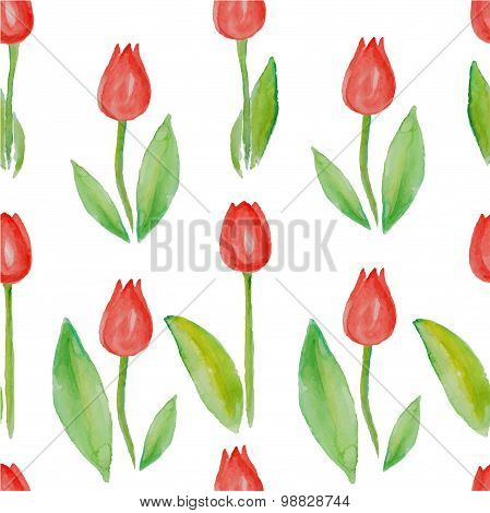 Red tulips pattern on white seamless background.
