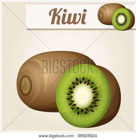 Kiwi. Detailed Vector Icon. Series of food and drink