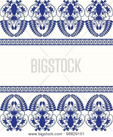 Gzhel style border pattern. Blue porcelain russian or chinese swirl design