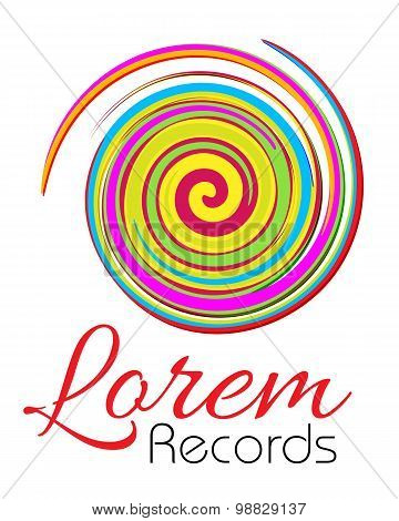 Logo template, abstract art logotype, record company, showbusiness