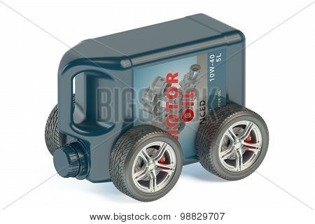 Motor Oil Canister On Wheels