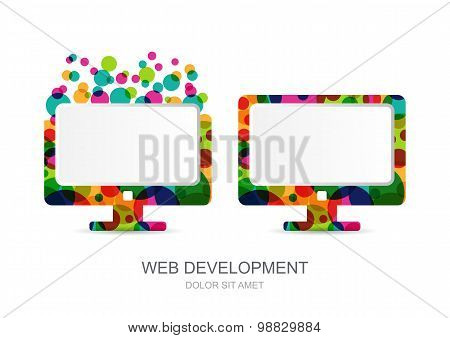 Vector Computer Monitor Icon Built From Colorful Circles. Abstract Logo Template. Concept For Mobile