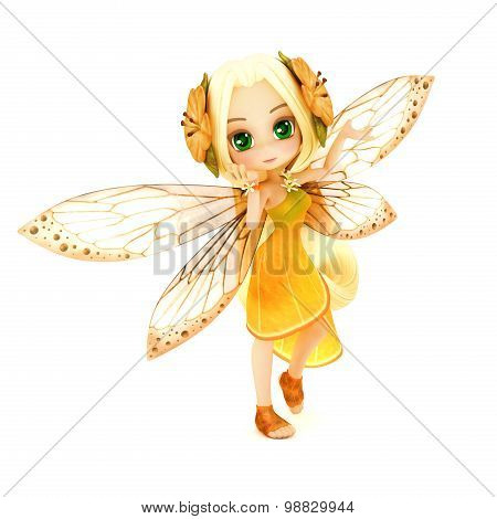 Cute toon fairy wearing orange flower dress with flowers in her hair posing on a white isolated back