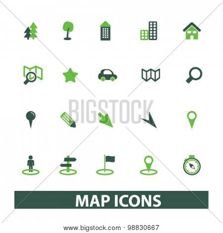 map, route icons, signs, illustrations