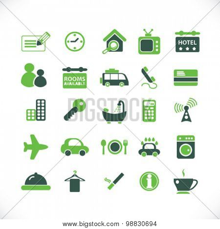 hotel, renting, apartment icons, signs, illustrations