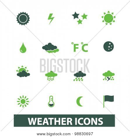 weather, climate icons, signs, illustrations