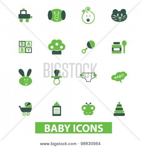 baby, children, toys icons, signs, illustrations