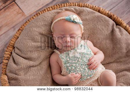 Baby Girl Sleeping In A Wicker Basket