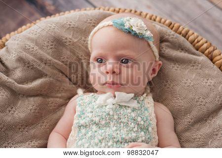 Alert Baby Girl Lying In A Wicker Basket