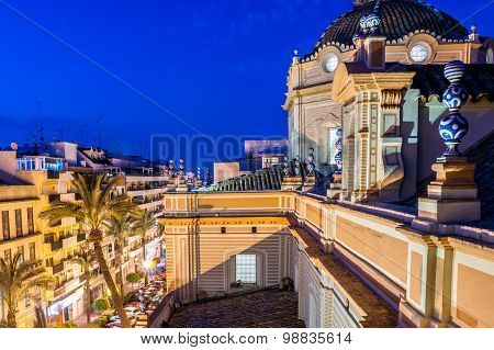 Aerial view at the blue hour from the dome of the Merced Cathedral in Huelva, Spain