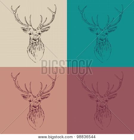 deer head engraving style vintage illustration hand drawn