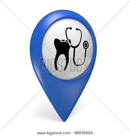 Blue map pointer 3D icon with a tooth symbol for dental clinics