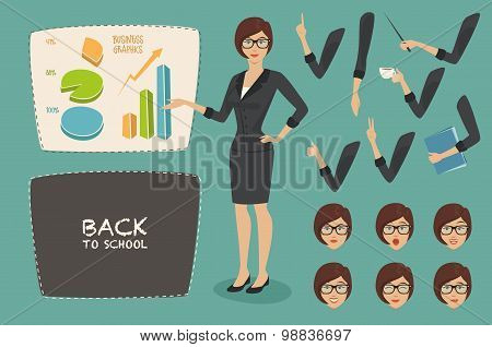 vector illustration business concept set young women teacher business woman character graphics on th