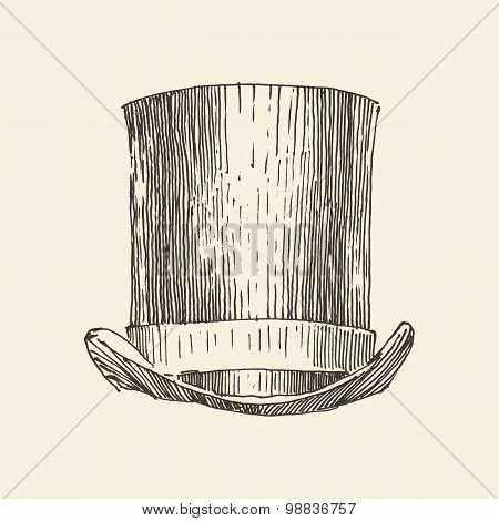 cylinder hat, vintage engraved illustration, hand drawn