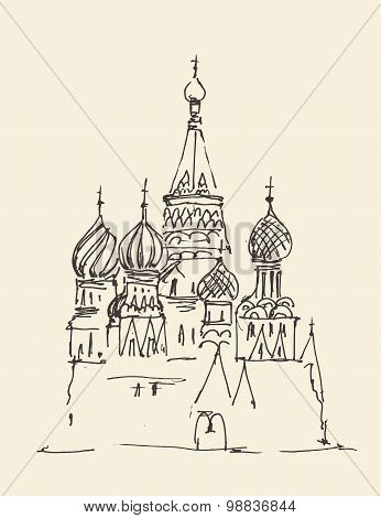 Moscow Cathedral of Vasily the Blessed city architecture, vintage engraved illustration, hand drawn