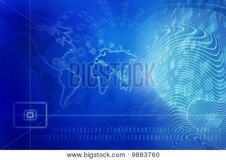 Blue Digital Background - Global Internet Concept