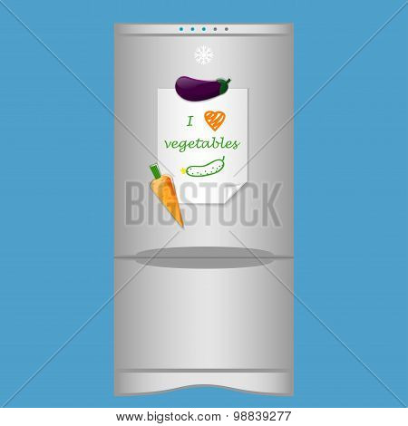 Icon with refrigerator and blank note