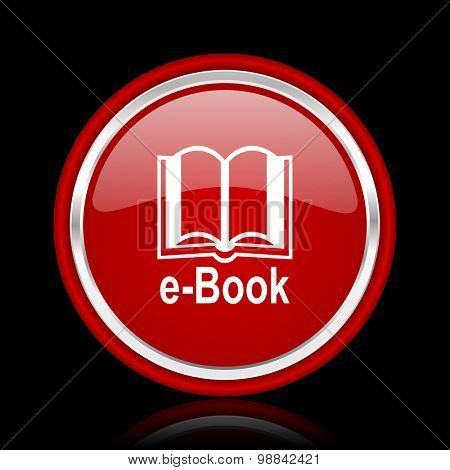 book red glossy web icon chrome design on black background with reflection