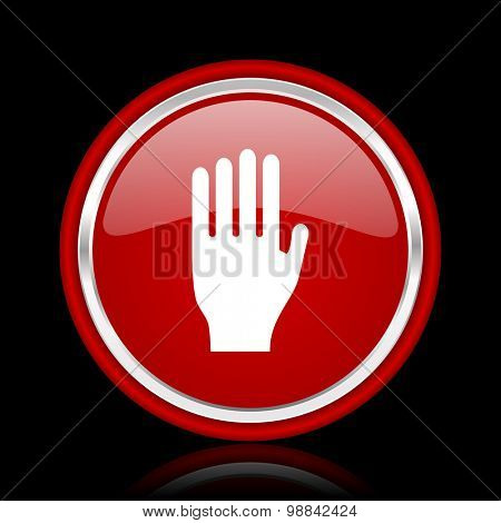 stop red glossy web icon chrome design on black background with reflection