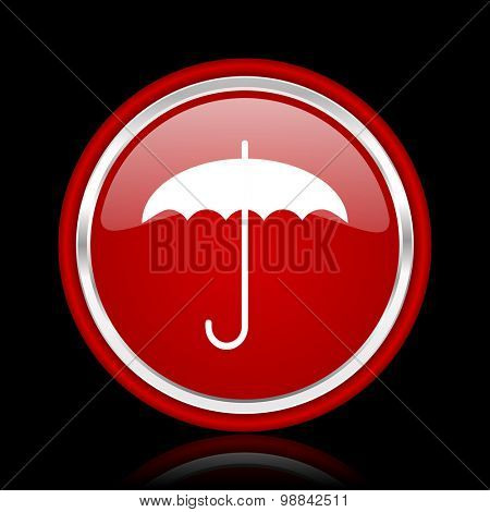 umbrella red glossy web icon chrome design on black background with reflection