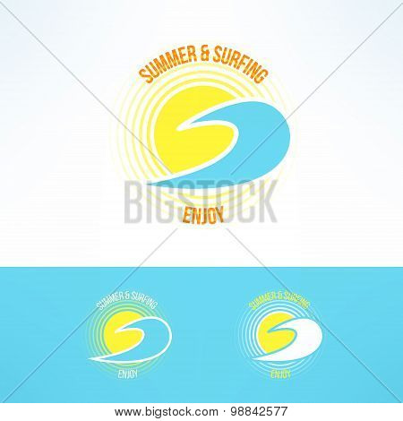 Vector sun and wave logo. Summer and surfing bright design element