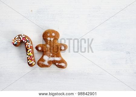 Happy ginger man with holiday rod