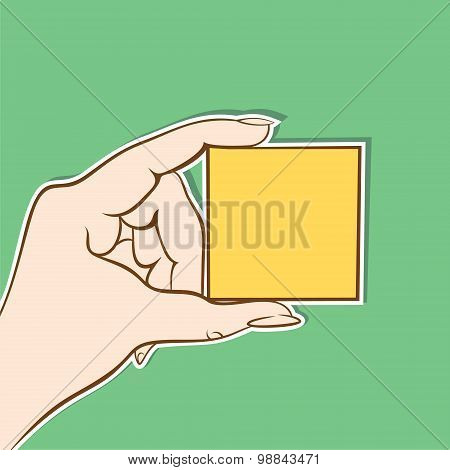 yellow box hold in hand design