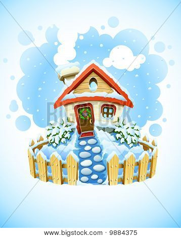 winter christmas landscape with house in snow