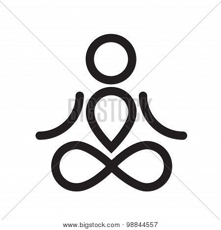 Yogi simple black icon or logo design