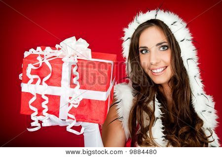 Beautiful Woman Holding Xmas Present