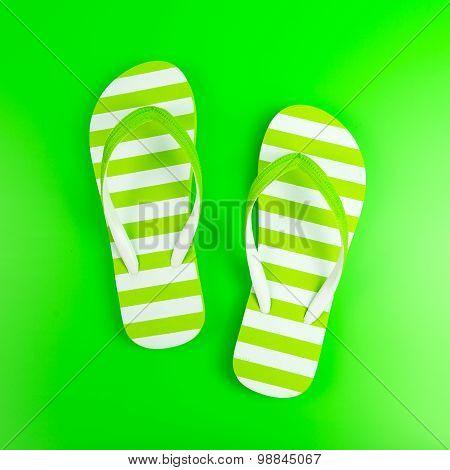 Green Striped Sandal